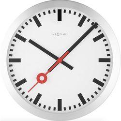 Nextime:: Zegar Ścienny Station Ø 35 cm Srebrny
