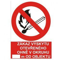 Zakaz używania otwartego ognia w promieniu..... m od obiektu