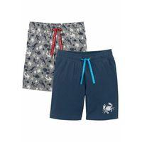 Krótkie spodenki dziecięce, Bermudy shirtowe chłopięce (2 pary) bonprix ciemnoniebieski + szary melanż z nadrukiem