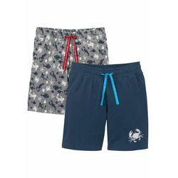 Bermudy shirtowe chłopięce (2 pary) bonprix ciemnoniebieski + szary melanż z nadrukiem