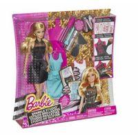 Lalki dla dzieci, Lalka Barbie Zestaw Brokatowe studio CCN12