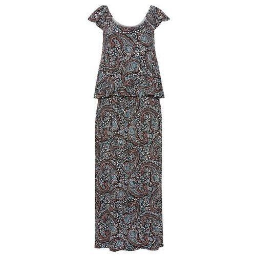 Suknie i sukienki, Sukienka z dekoltem carmen bonprix czarny z nadrukiem