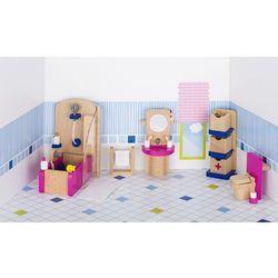 Mebelki do łazienki z różowymi elementami, 22 elementy