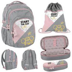 Zestaw szkolny plecak + akcesoria 3w1 PASO MYSZKA MINNIE RÓŻOWO-SZARY