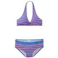Stroje kąpielowe dla dzieci, Bikini dziewczęce (2 części) bonprix różowo-lodowy niebieski w paski