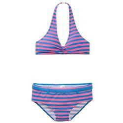 Bikini dziewczęce (2 części) bonprix różowo-lodowy niebieski w paski