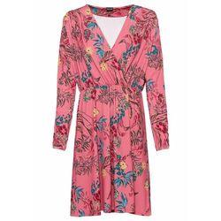 Sukienka siatkowa w kwiaty bonprix czarno-różowy z nadrukiem