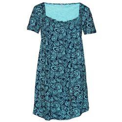Tunika shirtowa, krótki rękaw bonprix morsko-ciemnoniebieski wzorzysty