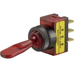 Przełącznik samochodowy podświetlany, SCI R13-61B, O 12,2 mm, 20 A, 12 V, czerwony