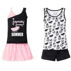 Top dziewczęcy + szorty + spódniczka (4 części) bonprix czarno-biało-różowy neonowy
