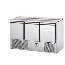 Stół chłodniczy sałatkowy 3-drzwiowy, pokrywa uchylna, 4x GN 1/1, 0,3 kW, 1380x700x880 mm | GRAFEN, SL03EKO