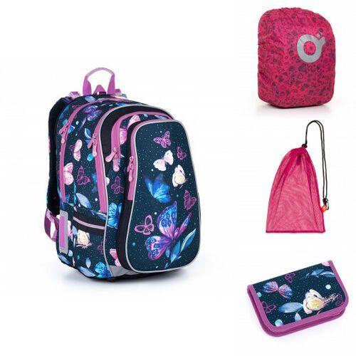 Tornistry i plecaki szkolne, Pojemny plecak szkolny w motyle i kwiaty Topgal LYNN 21007 G