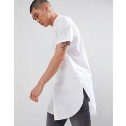 ASOS DESIGN regular fit super longline shirt with grandad collar in white - White