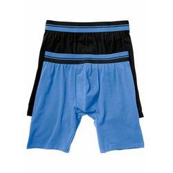 Długie bokserki (2 pary) bonprix czarny + niebieski