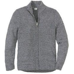 Sweter rozpinany z bawełny z recyclingu Regular Fit bonprix czarno-biały melanż