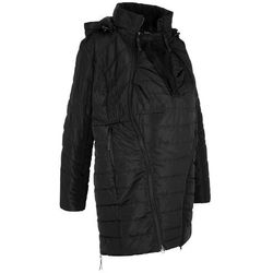 Długa kurtka pikowana ciążowa i z wstawką na nosidełko bonprix czarny