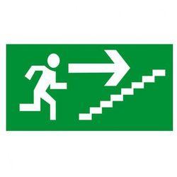 Kierunek drogi ewakuacyjnej schodami w górę w prawo