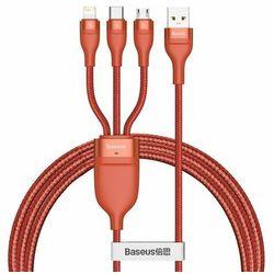 Kabel USB 3w1 Baseus Flash Series, USB-C + micro USB + Lightning, 40W, 5A, 1.2m (pomarańczowy)