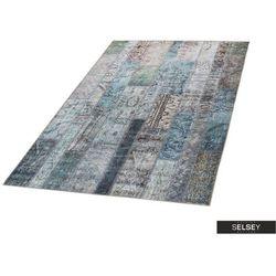 -10% SELSEY Dywan patchwork Patchworkowa Flora z odcieniami turkusu 155x230 cm
