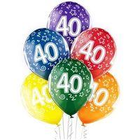 """Pozostałe wyposażenie domu, Balony transparentne z nadrukiem """"40"""" - 12 cali - 6 szt."""