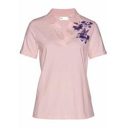 Shirt polo bonprix pastelowy jasnoróżowy - ciemny lila z nadrukiem