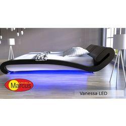 Nowoczesne łóżko tapicerowane VANESSA LED RGB - skóra ekologiczna