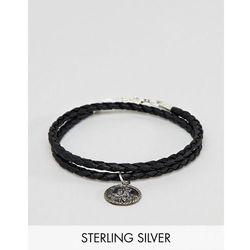 ASOS DESIGN Bracelet With Sterling Silver St Christopher Pendant - Black