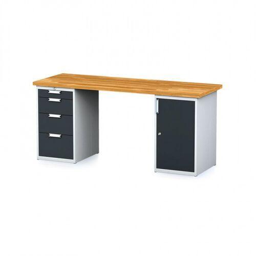 Stoły warsztatowe, Stół warsztatowy MECHANIC, 2000x700x880 mm, 1x 4 szufladowy kontener, 1x szafka, szary/antracyt