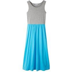 Letnia sukienka, dł. do kostki bonprix jasnoszary melanż- błękit laguny
