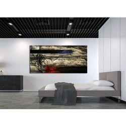 artystyczne kontrasty - obraz abstrakcyjny metaliczny z akcentem czerwieni i granatu rabat 15%