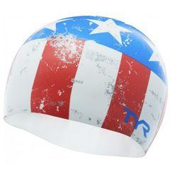 TYR CZEPEK EASY GLIDER SWIM CAP SILICONE CAP RED-WHITE-BLUE