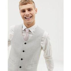 ASOS DESIGN wedding skinny suit waistcoat in ice grey wool mix texture - Grey