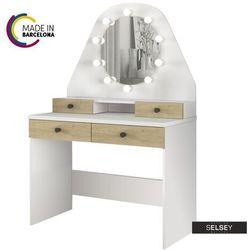 SELSEY Toaletka Dacetino biały - dąb sonoma z okrągłym lustrem i oświetleniem - made in Barcelona