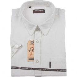 Lniana koszula męska z krótkim rękawem Aldo Vrandi w kolorze białym