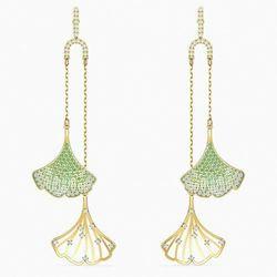 Kolczyki sztyftowe Stunning Ginko Mobile, zielone, powłoka w odcieniu złota