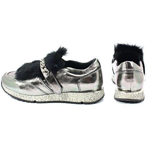 Półbuty damskie, VENEZIA 278973R94 SREBRNE - Sneakersy z futerkiem
