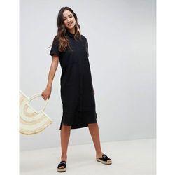 ASOS Casual Midi Shirt Dress in Linen - Black