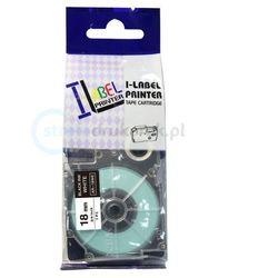 Taśma do nadruku XR Casio XR-18WE1, 18 mm x 8 m, Kolor taśmy: biały / Kolor nadruku: czarny