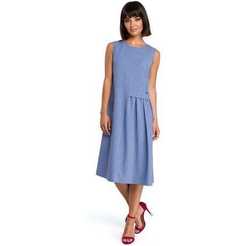 Suknie i sukienki, Niebieska Luźna Letnia Sukienka Midi z Marszczeniami na Boku