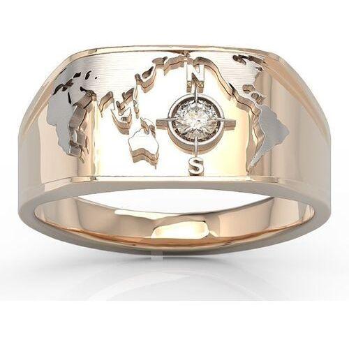 Sygnety, Sygnet morski z różowego i białego złota z brylantem sj-1410pb