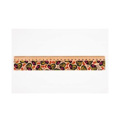 Przybory geometryczne, Linijka drewniana 25 cm łowickie koguty FOLKSTAR