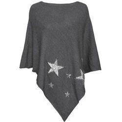 Poncho w gwiazdy z cekinów bonprix antracytowy