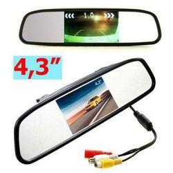 """Samochodowy Monitor LCD 4,3"""" w Lusterku, do Kamery Cofania... + 2 Kanały Video..."""