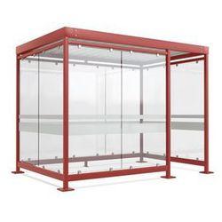 Zadaszenie z dachem stalowym,9 elementów szyb, prawa strona otwarta
