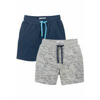 Krótkie spodenki dziecięce, Bermudy dresowe chłopięce (2 pary) bonprix niebieski gładki + szary melanż z nadrukiem