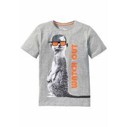 Shirt chłopięcy z modnym nadrukiem bonprix jasnoszary melanż