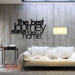 Napis na ścianę THE BEST JOURNEY ALWAYS TAKES US HOME czarny TBJ1-1