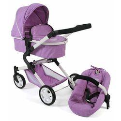 Bayer Chic wózek dla lalek LIA z fotelikiem samochodowym liliowy