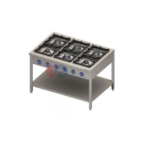 Piece i płyty grzejne gastronomiczne, Kuchnia gazowa wolnostojąca 6-palnikowa z półką 36,5 kW Stalgast 999623