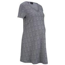 Sukienka ciążowa shirtowa w kratę glencheck bonprix szary w kratę